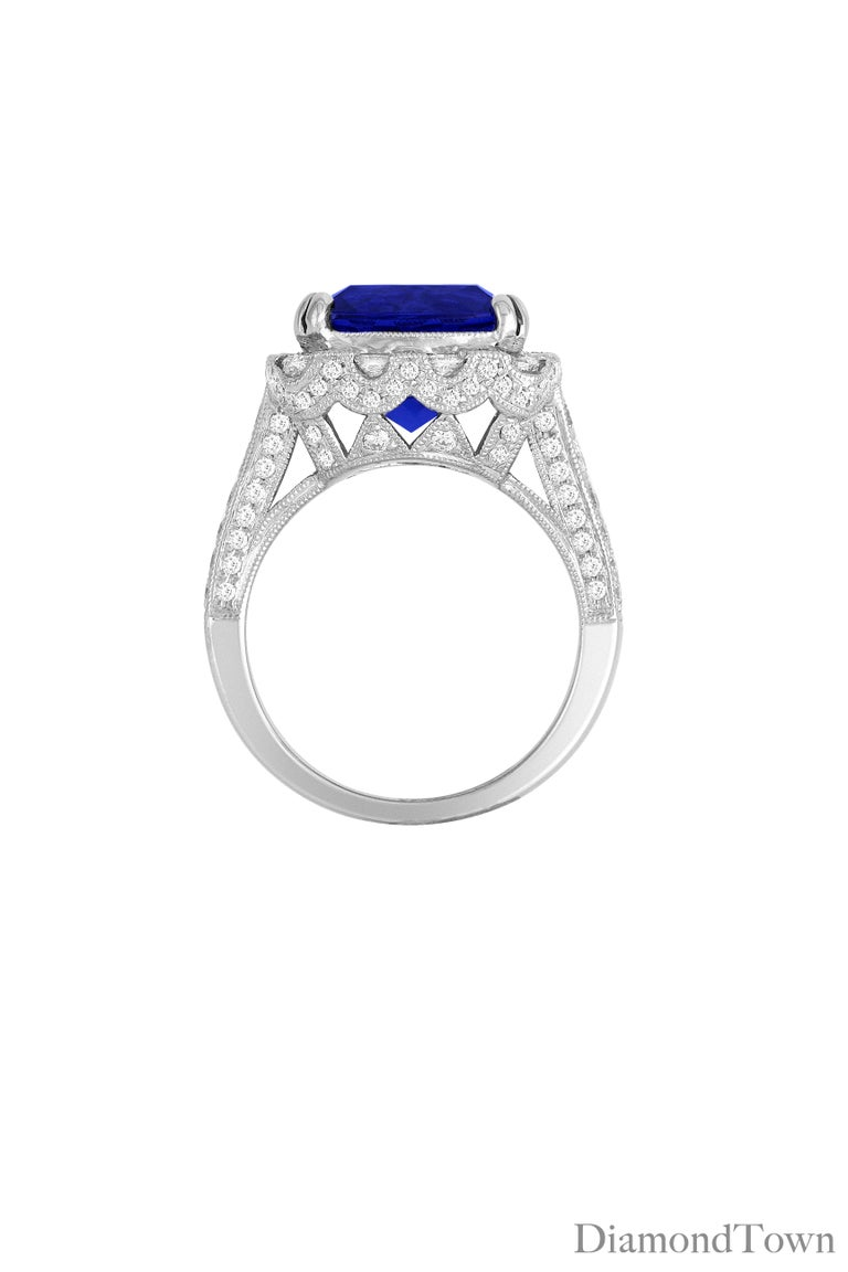 Contemporary 6.99 Carat Vivid Blue Tanzanite and Diamond Cocktail Ring in 18 Karat White Gold For Sale