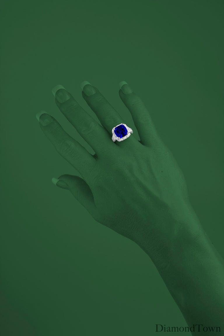 Cushion Cut 6.99 Carat Vivid Blue Tanzanite and Diamond Cocktail Ring in 18 Karat White Gold For Sale