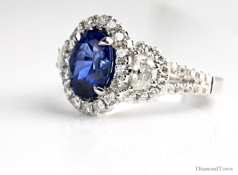 Contemporary 2.26 Carat Oval Cut Vivid Blue Ceylon Sapphire and Diamond Ring in White Gold For Sale