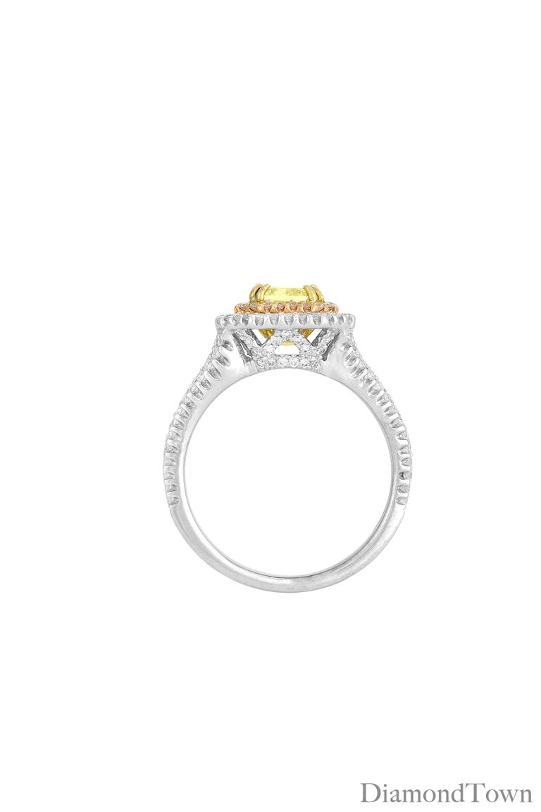Contemporary GIA Certified 1.00 Carat Natural Fancy Diamond Cluster Ring in 18 Karat Gold For Sale