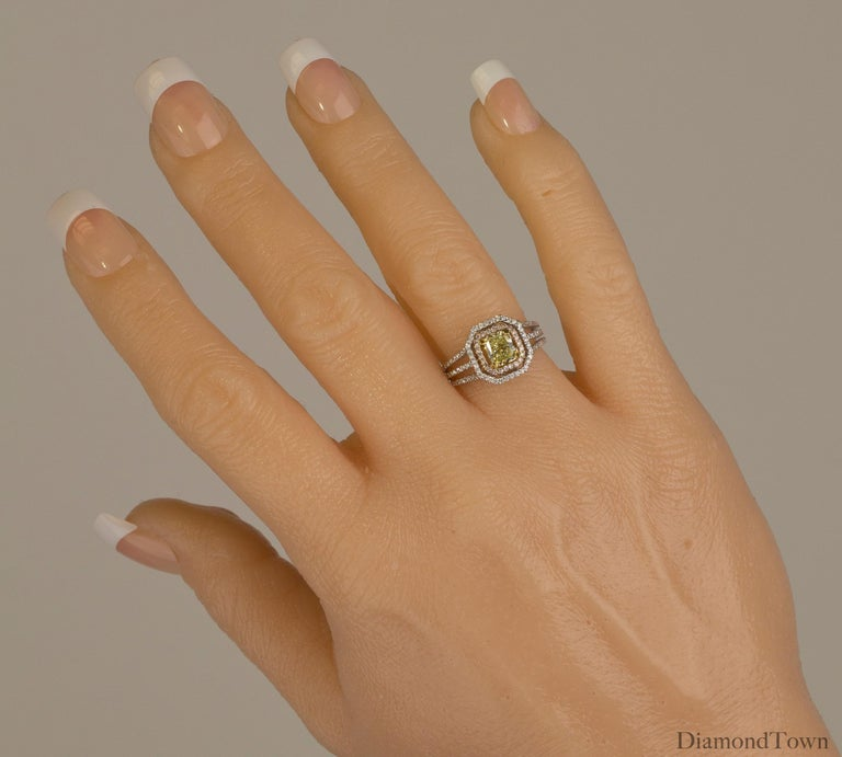 Cushion Cut GIA Certified 1.00 Carat Natural Fancy Diamond Cluster Ring in 18 Karat Gold For Sale