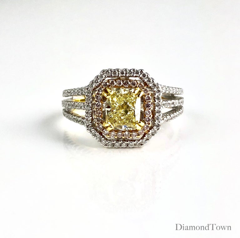 GIA Certified 1.00 Carat Natural Fancy Diamond Cluster Ring in 18 Karat Gold In New Condition For Sale In New York, NY