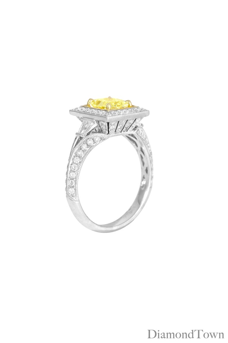 Contemporary GIA Certified 1.22 Carat Radiant Cut Natural Fancy Yellow Diamond Cluster Ring For Sale