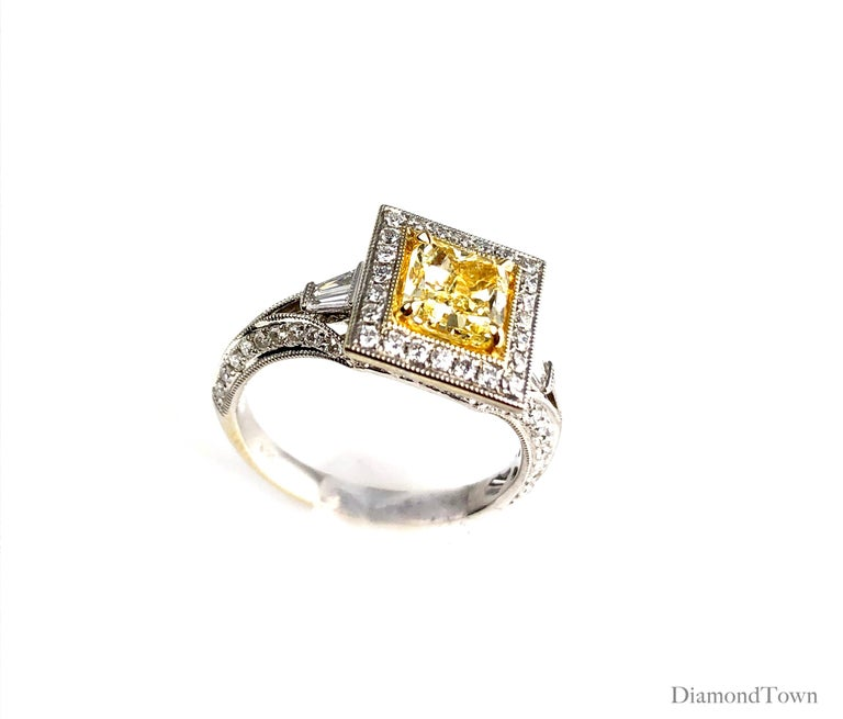 Women's GIA Certified 1.22 Carat Radiant Cut Natural Fancy Yellow Diamond Cluster Ring For Sale