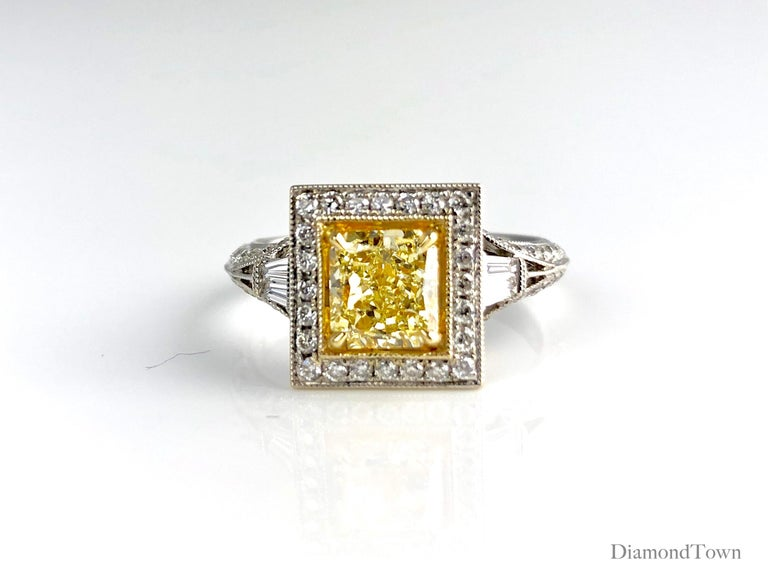 GIA Certified 1.22 Carat Radiant Cut Natural Fancy Yellow Diamond Cluster Ring In New Condition For Sale In New York, NY