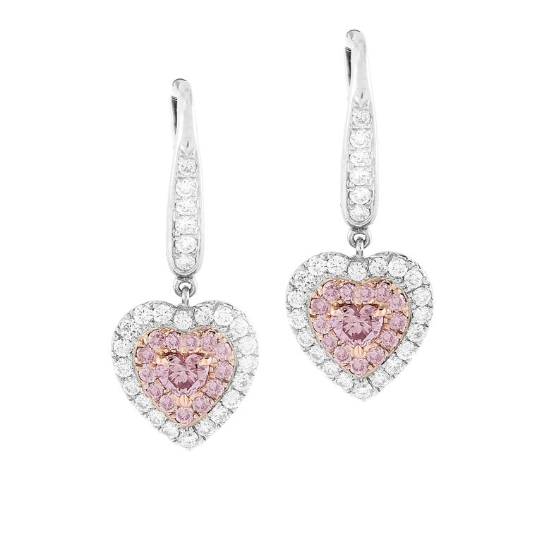 1.15 Carat Natural Fancy Pink Diamond Heart Earrings in White Gold and Pink Gold For Sale