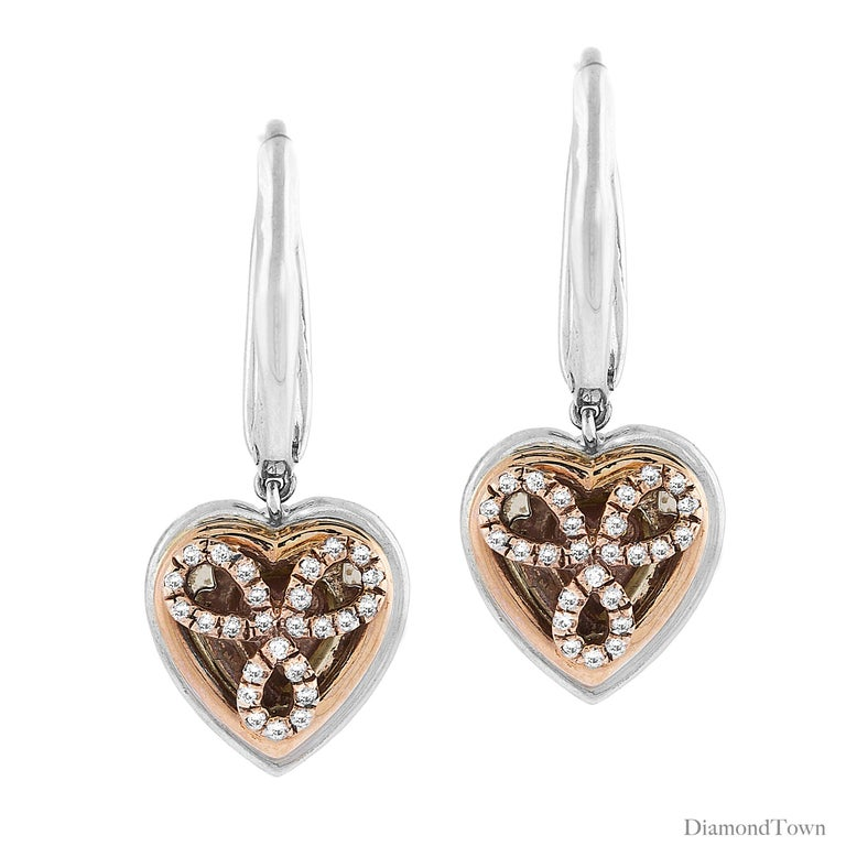 Women's 1.15 Carat Natural Fancy Pink Diamond Heart Earrings in White Gold and Pink Gold For Sale