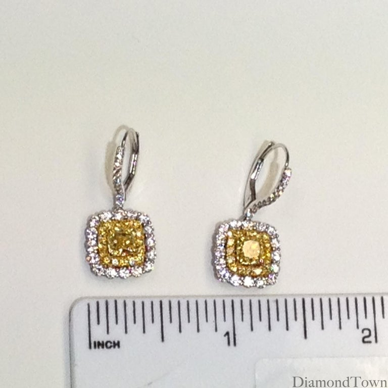 Women's GIA Certified 1.65 Carat Natural Fancy Intense Yellow Diamond Halo Hoop Earrings For Sale