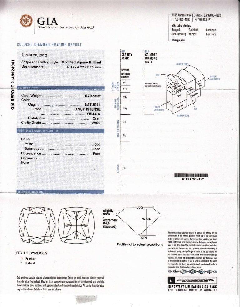GIA Certified 1.65 Carat Natural Fancy Intense Yellow Diamond Halo Hoop Earrings For Sale 1