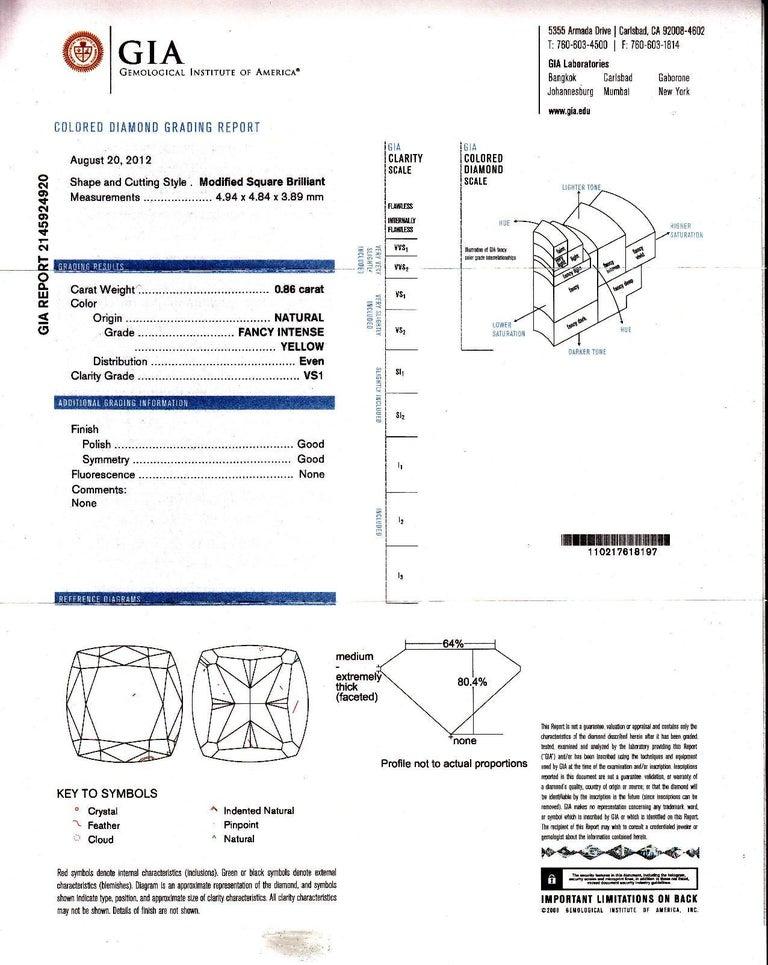 GIA Certified 1.65 Carat Natural Fancy Intense Yellow Diamond Halo Hoop Earrings For Sale 2