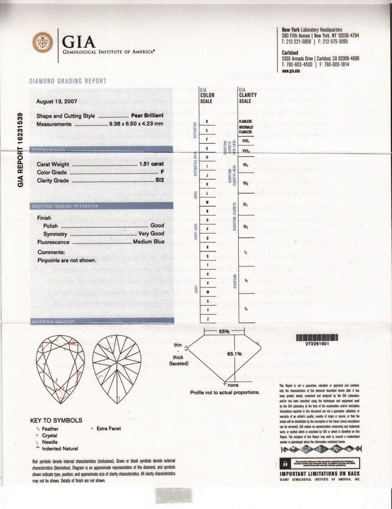 Pear Cut GIA Certified 1.81/1.51 Carat Drop Kite and Pear Shape Diamond Dangle Studs For Sale
