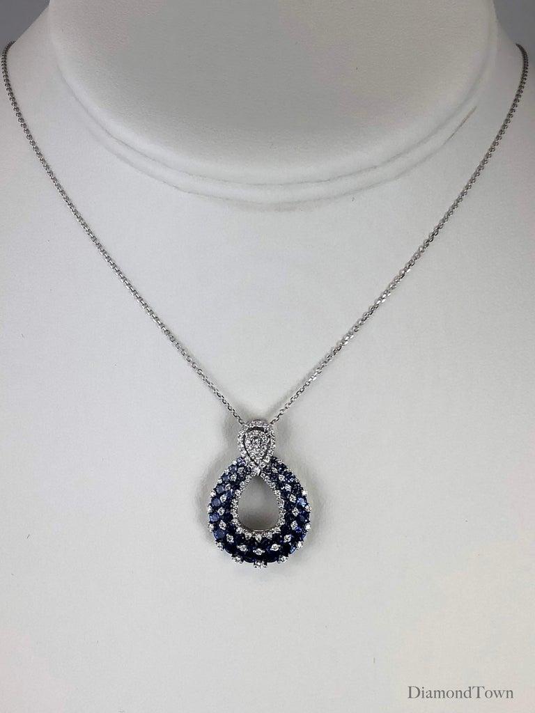 Round Cut 2.09 Carat Blue Sapphire and Drop Diamond Pendant in 18 Karat White Gold For Sale