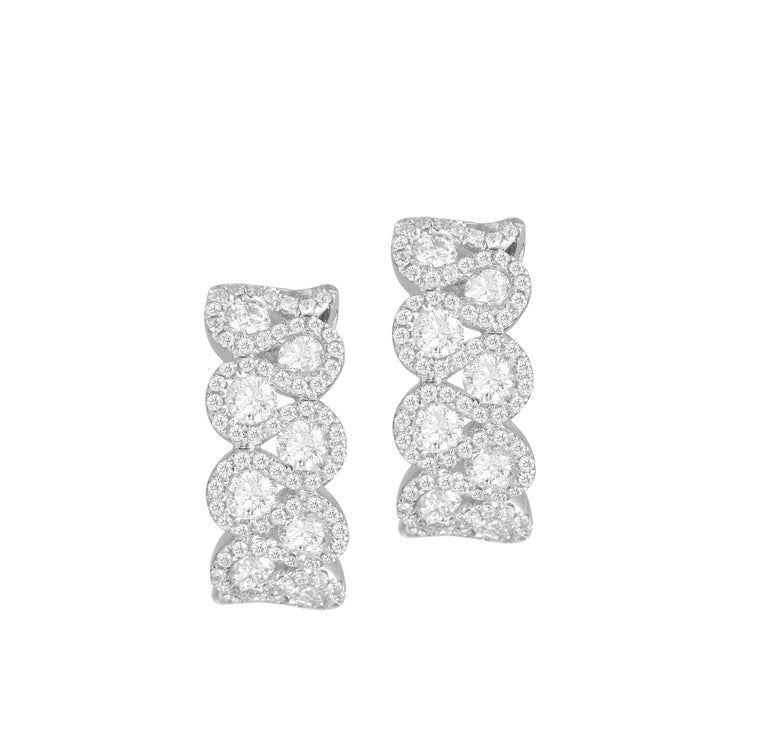 2.00 Carat Diamond Hoop Lever-Back Earrings in 18 Karat White Gold