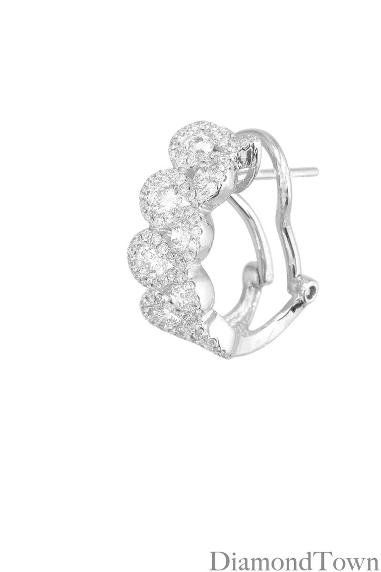 Contemporary 2.00 Carat Diamond Hoop Lever-Back Earrings in 18 Karat White Gold For Sale