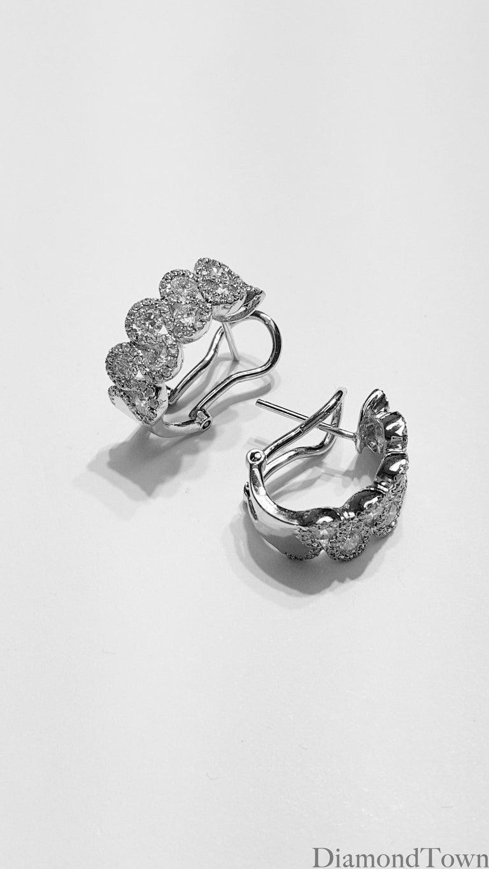 Round Cut 2.00 Carat Diamond Hoop Lever-Back Earrings in 18 Karat White Gold For Sale