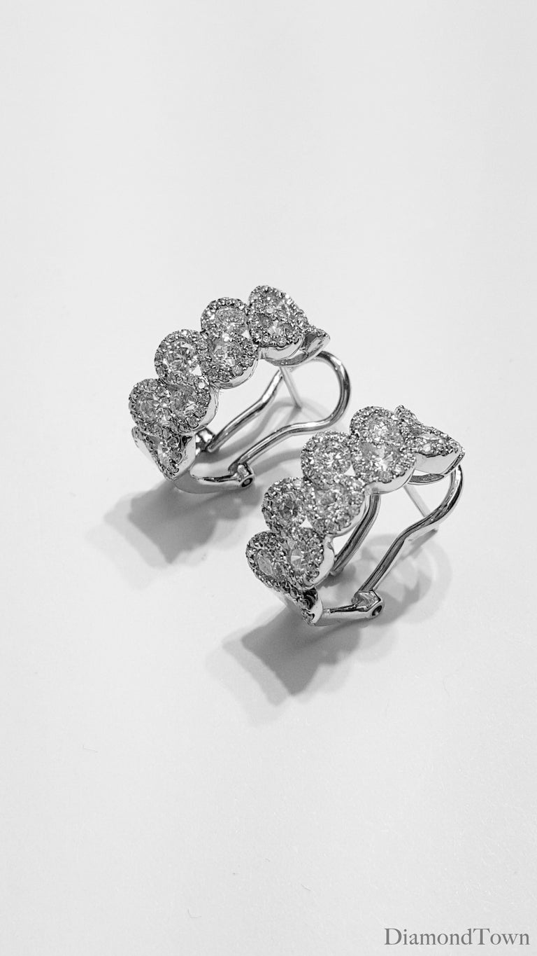 2.00 Carat Diamond Hoop Lever-Back Earrings in 18 Karat White Gold In New Condition For Sale In New York, NY