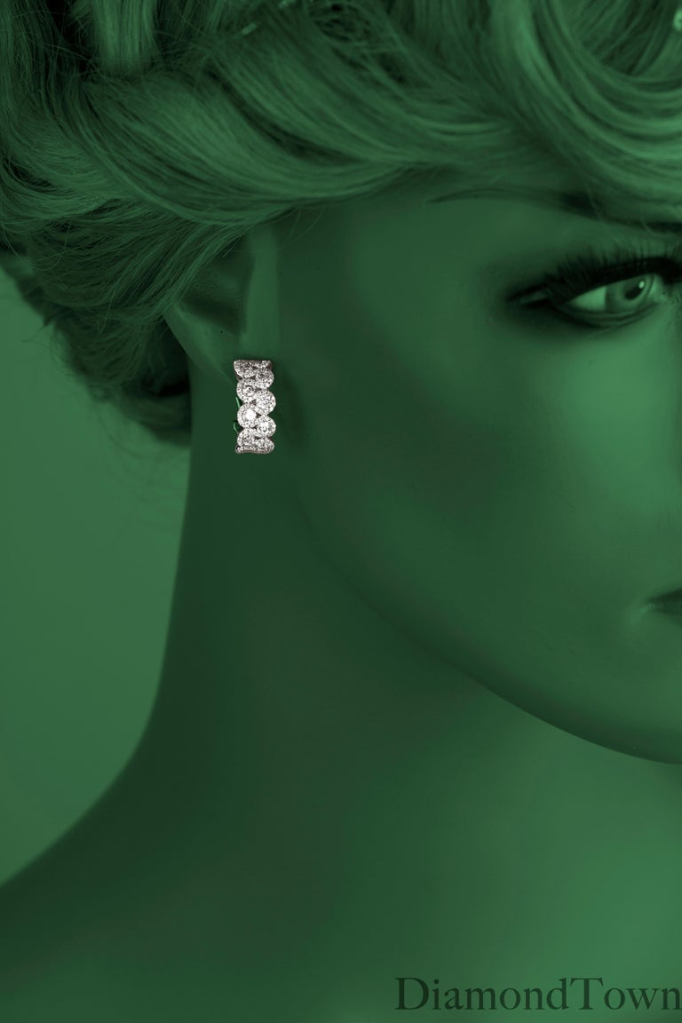 Women's 2.00 Carat Diamond Hoop Lever-Back Earrings in 18 Karat White Gold For Sale