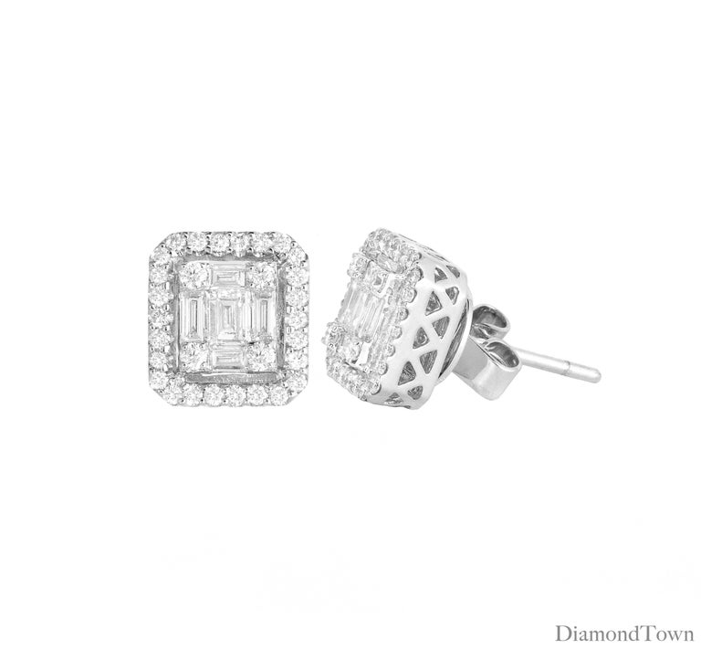 These lovely white diamond earrings feature baguettes and round diamonds in a dazzling arrangement to give the illusion of a larger center, surrounded by an additional halo of round diamonds. Total diamond weight 0.75 carats, set in 18k White