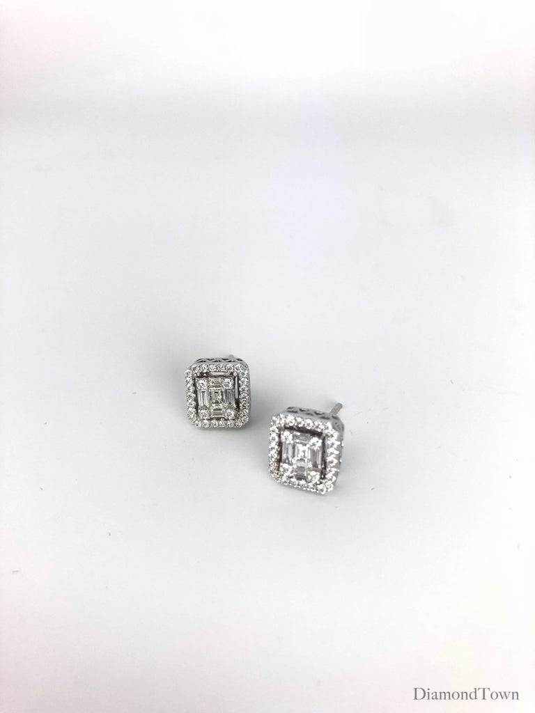 Contemporary 0.75 Carat Cluster Stud Diamond Earrings in 18 Karat White Gold For Sale