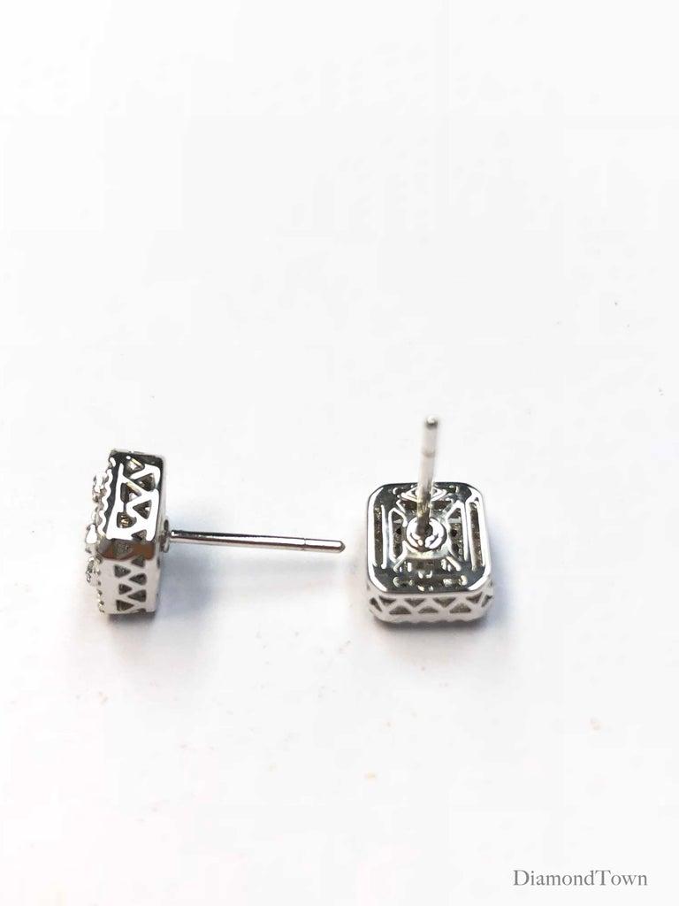 0.75 Carat Cluster Stud Diamond Earrings in 18 Karat White Gold For Sale 2
