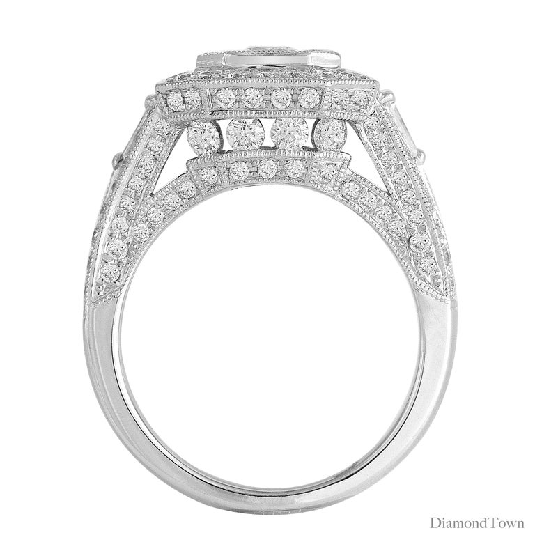 Contemporary 2.23 Carat Diamond Cluster Bridal Engagement Ring in 18 Karat White Gold For Sale