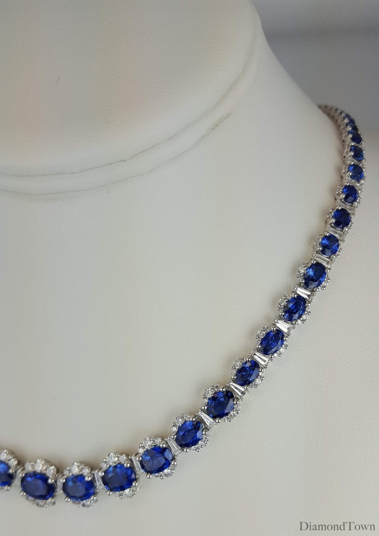 Contemporary 34.03 Carat Vivid Blue Sapphire and 6.89 Carat Diamond Necklace in White Gold For Sale