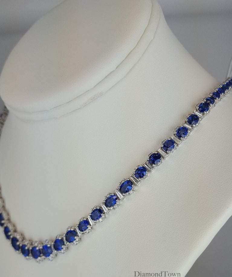 Oval Cut 34.03 Carat Vivid Blue Sapphire and 6.89 Carat Diamond Necklace in White Gold For Sale