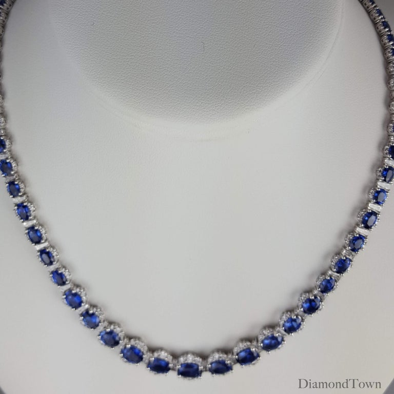 34.03 Carat Vivid Blue Sapphire and 6.89 Carat Diamond Necklace in White Gold In New Condition For Sale In New York, NY