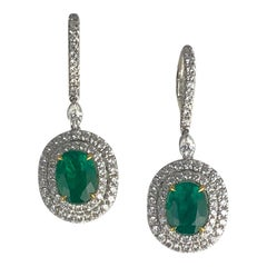 3.73 Carat Colombian Emerald and 1.76 Carat Diamond Earrings