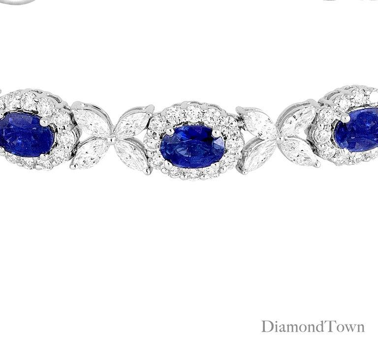 Contemporary 8.14 Carat Oval Cut Vivid Blue Sapphire and 6.95 Carat Diamond Bracelet For Sale