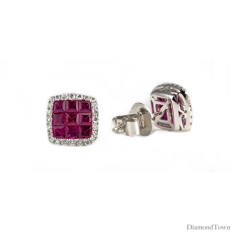 These stud earrings feature a ruby square cluster center (nine stones each earring, total weight 1.50 carats), surrounded by a halo of white diamonds (total diamond weight 0.29 carats) set in 18k White Gold.  There is a seasonal promotion available