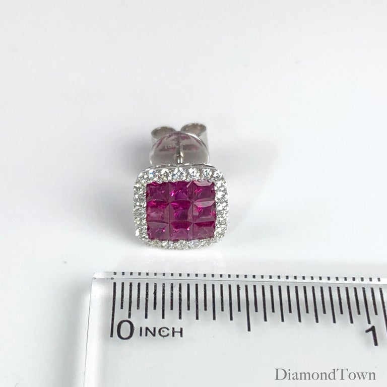 1.50 Carat Ruby and 0.29 Carat Diamond Halo Stud Earrings set in 18 Karat Gold In New Condition For Sale In New York, NY