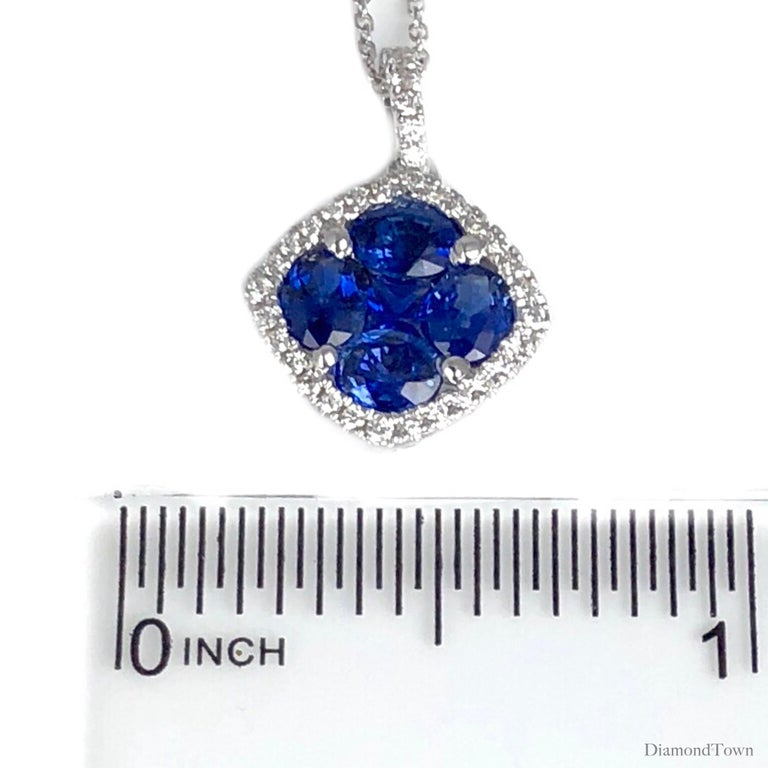 1.09 Carat Sapphire and 0.13 Carat Diamond Halo Pendant in 18 Karat White Gold In New Condition For Sale In New York, NY