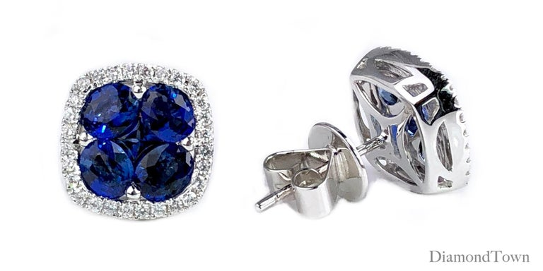 Contemporary 2.65 Carat Sapphire and 0.26 Carat Diamond Stud Earrings in 18 Karat White Gold For Sale