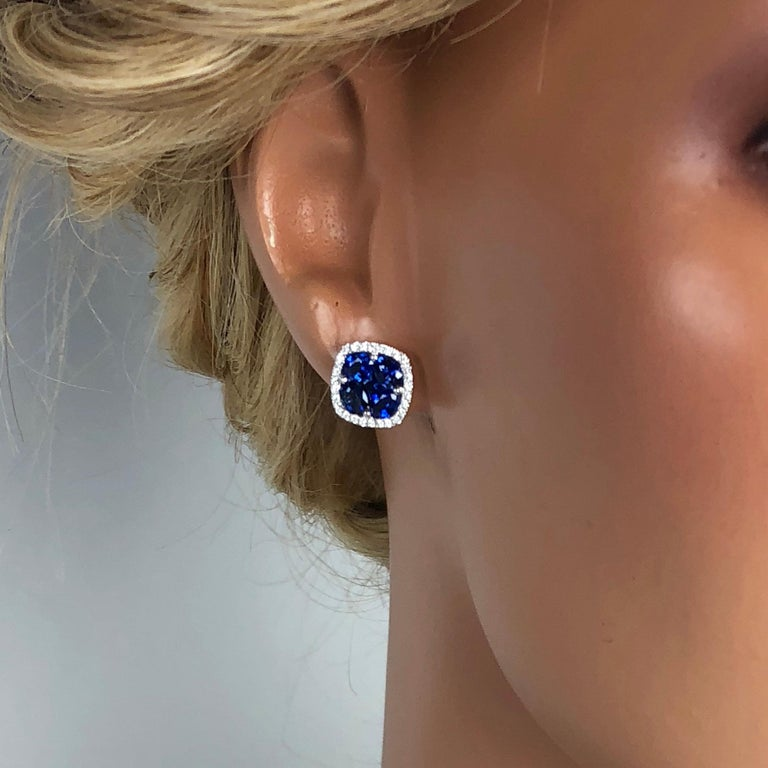2.65 Carat Sapphire and 0.26 Carat Diamond Stud Earrings in 18 Karat White Gold In New Condition For Sale In New York, NY