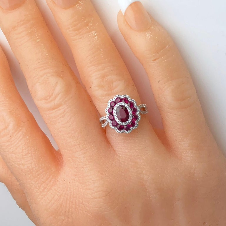 Contemporary 1.72 Carat Ruby and 0.44 Carat Diamond Cocktail Flower Ring in 18 Karat Gold For Sale