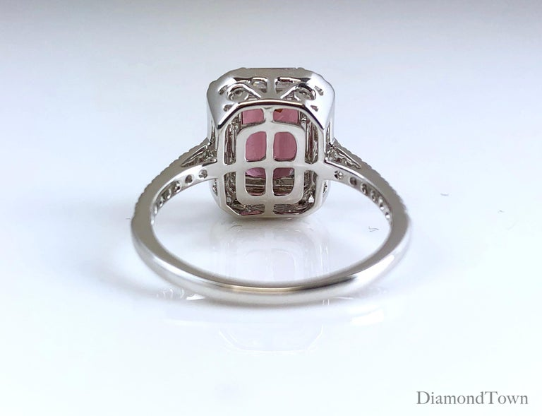 4.95 Carat Cushion Cut Raspberry Garnet and 1.19 Carat Diamond Cluster Ring In New Condition For Sale In New York, NY
