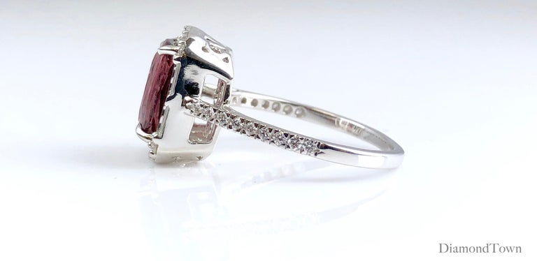 Contemporary 4.95 Carat Cushion Cut Raspberry Garnet and 1.19 Carat Diamond Cluster Ring For Sale