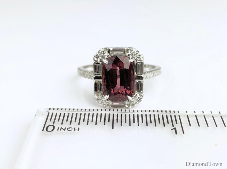 Women's 4.95 Carat Cushion Cut Raspberry Garnet and 1.19 Carat Diamond Cluster Ring For Sale