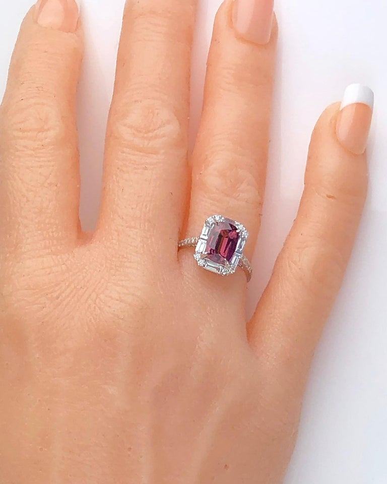 4.95 Carat Cushion Cut Raspberry Garnet and 1.19 Carat Diamond Cluster Ring For Sale 1