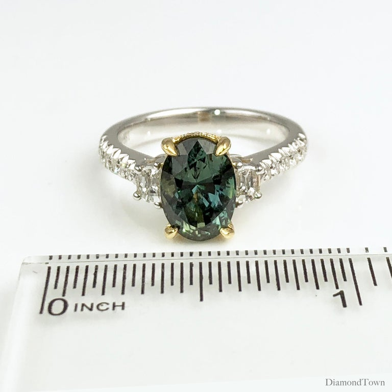 2.90 Carat Oval Cut Exotic Forest Green Sapphire and 0.57 Carat Diamond Ring In New Condition For Sale In New York, NY