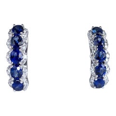 2.05 Carat Blue Sapphire and 0.39 Carat Diamond Hoop Earrings in 18 Karat Gold