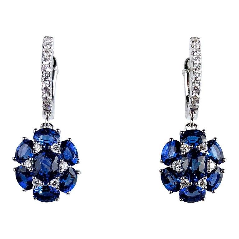 3.42 Carat Blue Sapphire Dangle Flower Earrings in 18 Karat White Gold For Sale