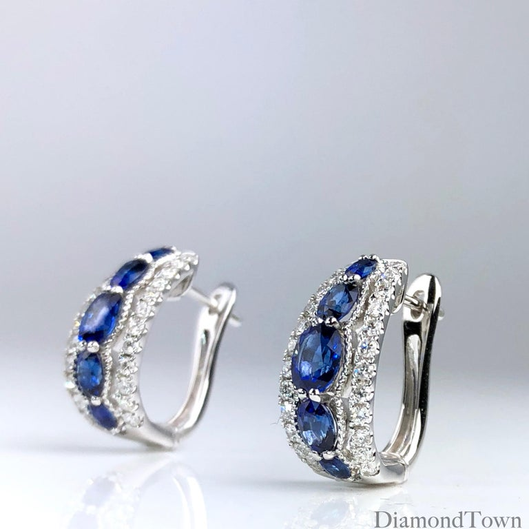 Contemporary 1.94 Carat Blue Sapphire and 0.54 Carat Diamond Hoop Earrings in 18 Karat Gold For Sale
