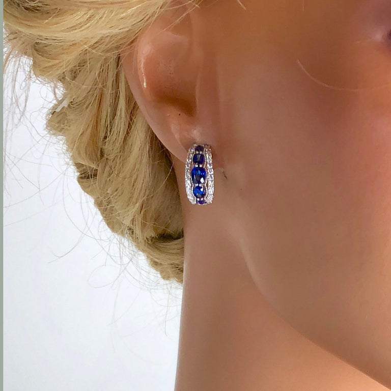 Women's 1.94 Carat Blue Sapphire and 0.54 Carat Diamond Hoop Earrings in 18 Karat Gold For Sale