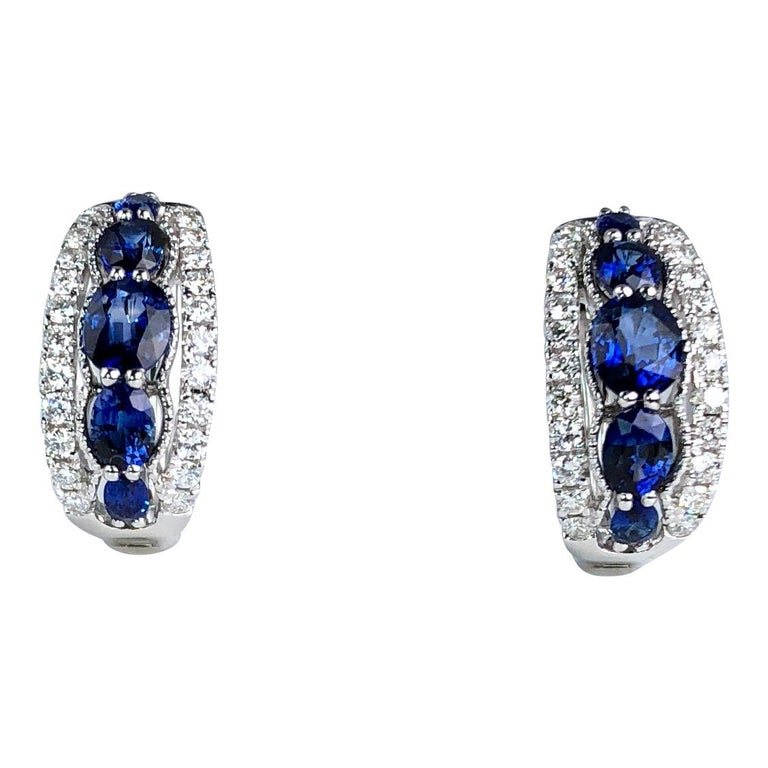 1.94 Carat Blue Sapphire and 0.54 Carat Diamond Hoop Earrings in 18 Karat Gold For Sale