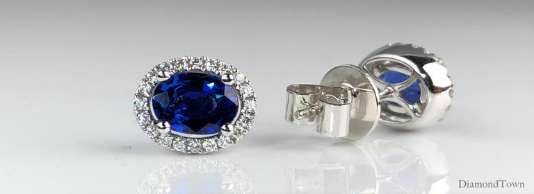 Contemporary 1.65 Carat Oval Cut Blue Sapphire Earrings with Diamond Halo in 18k White Gold For Sale