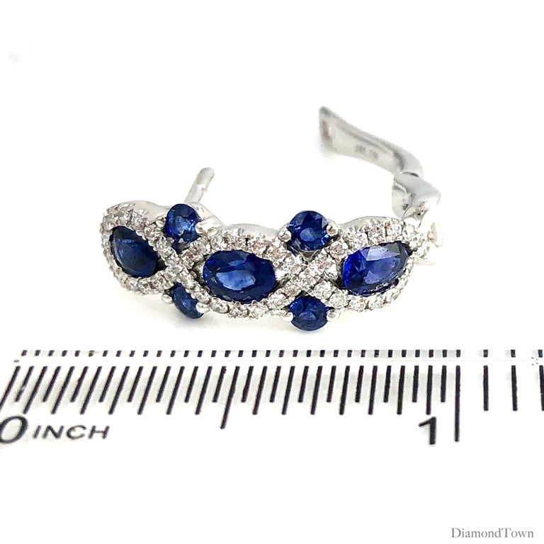 2.52 Carat Sapphire and 0.48 Carat Diamond Lever-Back Hoop Earring in White Gold In New Condition For Sale In New York, NY