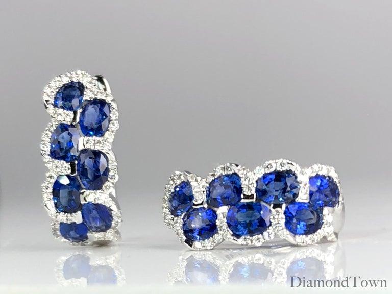 Women's 2.88 Carat Oval Cut Sapphire Lever-Back Earrings in White Diamond Halo For Sale
