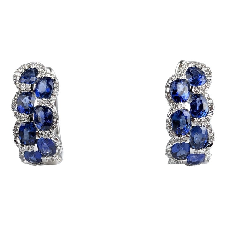 2.88 Carat Oval Cut Sapphire Lever-Back Earrings in White Diamond Halo